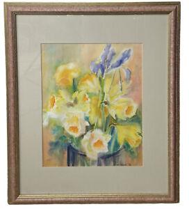 VTG 1994 Yellow Gladiolus Irises ORIGINAL WATERCOLOR Valerie Norris 18x22 Framed