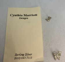 "Vintage MidCentury Cynthia Marriott Sterling Butterfly Rheinstone Necklace 16"""