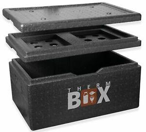 THERM BOX Styroporbox Groß 40 Liter m. Kühlfach Isolierbox Warmhaltebox Kühlbox