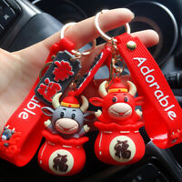 2021 Creative The Year Of The Ox Doll Keychain Car Bag Pendant Keyring Gift Doll