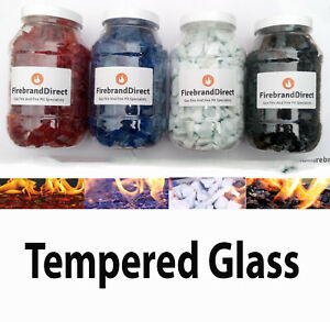Red/Black/White/Blue Fire Glass 1kg - For Fire Pits Gas Fires And Ethanol Burn
