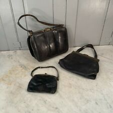 2 antique/vintage black leather bags and 2 purses