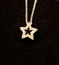RARE Roberto Coin Star Diamond Pendant Necklace Tiny Treasures 18K White Gold