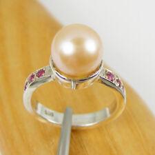 Natural Ruby Gemstone & 9mm Round Pearl Ring Genuine 925 Sterling Silver, RHM28