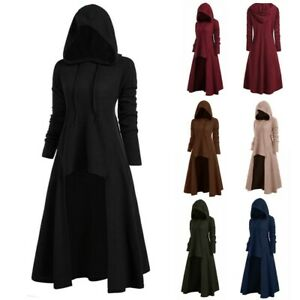Womens Gothic Punk Hooded Cloak Cape Coat Sweater Witch Swing Dress Plus Size