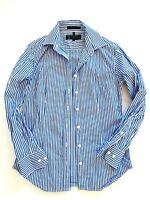 PILBARA COLLECTION Blue White Striped L/S Size 8 Button Up Cotton Blouse Top