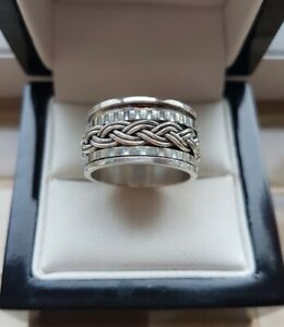 925 STERLING SILVER WIDE SPINNER / SPINNING BAND RING - NEW