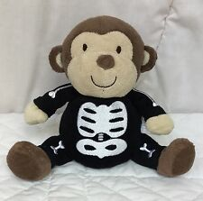 "Carters Skeleton Monkey 7"" Plush Lovey Stuffie Brown Black Bone Just One You"