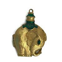 Vintage Revlon Moon Drops Solid Perfume Pendant Elephant Emerald Green Stone