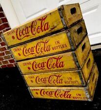 5 Vintage 1960's Yellow Coca Cola Coke Wood Soda Pop Crates Lot