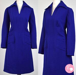 INDIGO BLUE TEXTURED CRIMPLENE, POINTY COLLAR 1960s VINTAGE MOD DRESS 18