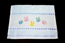 "CROSS STITCH FINGERTIP TOWEL ""RABBITS AND CATS"""