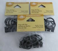Graber Curtain Rings With Clips 1 Inch Inside Diameter Black 7 Rings Per Package