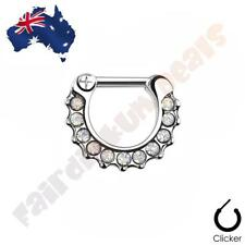 316L Surgical Steel Clear Paved Opalites Septum Ring Clicker