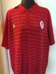 Adidas Mens Polo Shirt UK M Red Stripe Shirt Team GB Olympics  (LL)