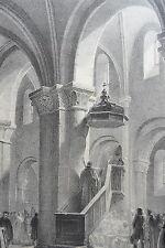 Intérieure église ST HILDEBERT GOURNAY LITHOGRAPHIE originale ENGELMANN XIXéme
