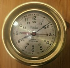 Vintage Chelsea Quartz Chronometer Brass Marine Clock 5 1/2 inches across