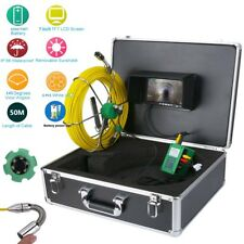 """50M IP68 Waterproof Drain Pipe Sewer Inspection Camera System 7""""LCD 1000 TVL Cam"""