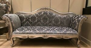 Large Antique Silver Leaf Grey French Ornate Sofa Chaise Longue Day Bed Lounge
