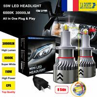 8 Côté 360° 110W 30000LM H7 LED Ampoule Voiture Phare Feux Lampe Kit Blanc 6000K