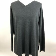 Eileen Fisher Gray Large Merino Wool Boxy V Neck Sweater