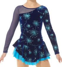 Mondor 12929 Ice Figure Skating Competition Dress Blue Sparks Baton Dance Small