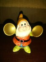 "Disney Schmid Vintage Happy Dwarf playing instrument 3"" miniature Sri Lanka"