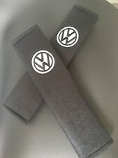 Embroidered Vw Universal  Seat Belt Shoulder Pads Pair Black And White
