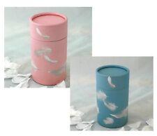 Pink and Blue Feather Scatter Tube, keep sake, urn, casket