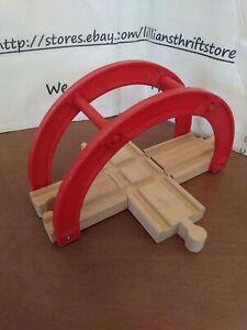 """💥RARE! Wooden Railway Red 4 WAY CROSSING Bridge 4.25"""" Thomas Brio Compatible💥"""