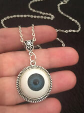 "3D Blue Eyeball Eye Ball Cameo Necklace Horror Creepy Long 24"" Chain Doll Eyes"