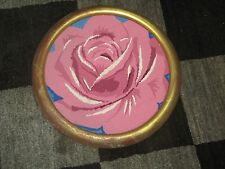 """Vintage Needlepoint Fine Hand Made Finished Framed 14"""" - 11"""" Round Rose Pink"""