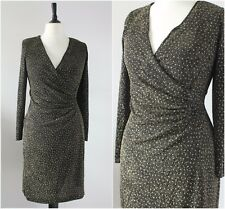 Vintage 1980s GOLD Wrap Dress Glittery 50s Style Wiggle Cocktail Party Dress 14