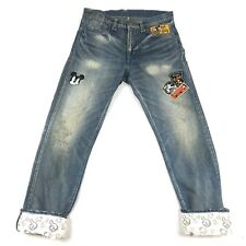 CLOT x DISNEY men's Mickey Mouse Patch jeans Size 32x32 distressed RARE b209