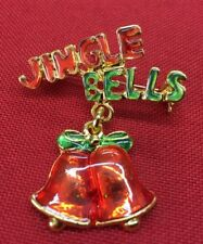 "Jingle Bells Christmas Brooch pin 2""x1 1/2"" Gift gold tone stocking stuffer #14"