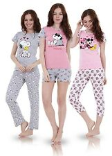 Ladies Cute 2 PIECE Snoopy Pyjamas Girls Short Sleeve Mickie Minnie Shorts PJ