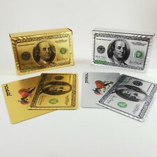 Gold and Silver Foil $100 Benjamin Franklin Bill Playing Cards