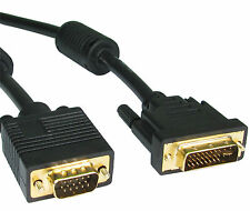 LONG 5m GOLD DVI to VGA Cable Lead Wire Connect  PC Notebook Laptop to Monitor