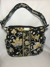 Vera Bradley Black Yellow Paisley & Floral Shoulder Bag Purse Hand Bag - EUC