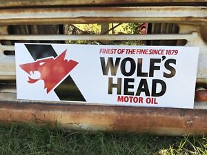 Antique Vintage Style Wolf's Head Oil Sign.