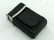 Black Leather Cigarette Case Box Pack Holder with Lighter Compartment