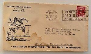 1937 Western Angler & Hunter ADV Cover Slogan Cancel Kamloops BC to Richmond VA