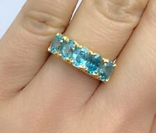 14k Solid Yellow Gold One Row Band Ring, Natural Blue Zircon 3.5TCW. Sz 7.5