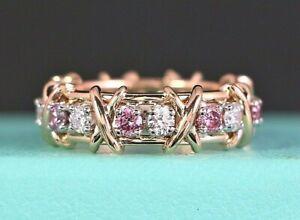 $45k Rare Tiffany Co Fancy Pink Diamond 18K Rose Gold Platinum Schlumberger Ring