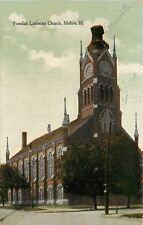 Moline Illinois~Swedish Lutheran Church~Clock Tower~1911 Postcard