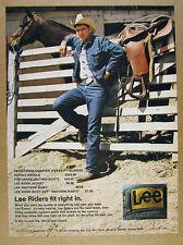 1972 Lee Riders Jeans Jacket Shirt cowboy horse photo vintage print Ad