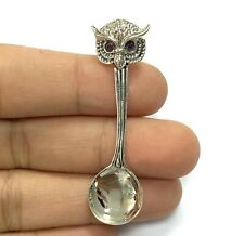 Victorian Style Owl Salt Spoon with Ruby Eyes 925 Sterling Sliver