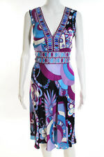 Emilio Pucci Multi-Color Silk Abstract Rhinestone A Line Dress Size 46 Small NEW