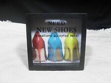 "Decorative ~ Shadow Box Bank ~ ""Need New Shoes"""