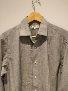 Reiss Grey Ruffled Large Men's Shirt